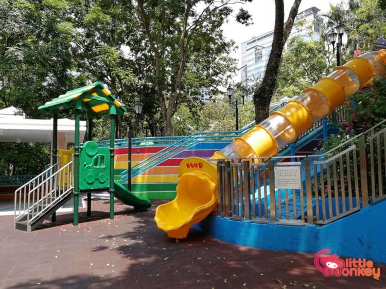 Hong Kong Park childrens playground's tunnel slide