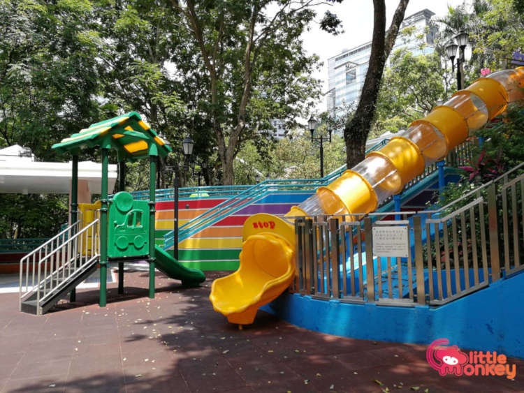 Hong Kong Park childrens playground's tunnel slide