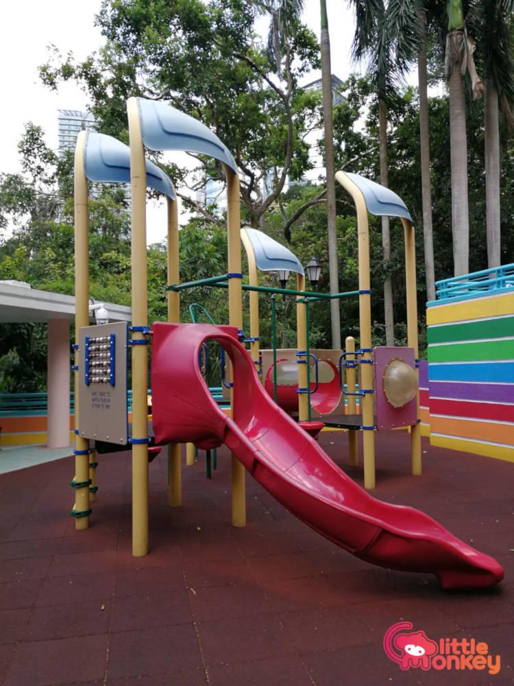 Hong Kong Park childrens playground's slippery slide