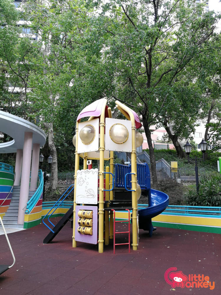 Hong Kong Park childrens playground's curving slide