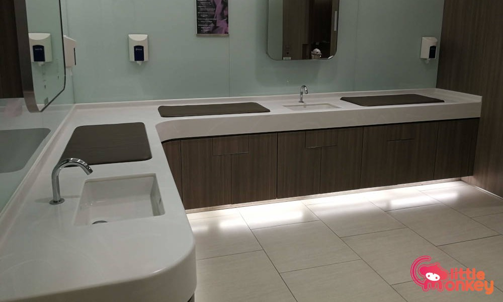 Nursery room's basin and changing station in Times Square Shopping Mall