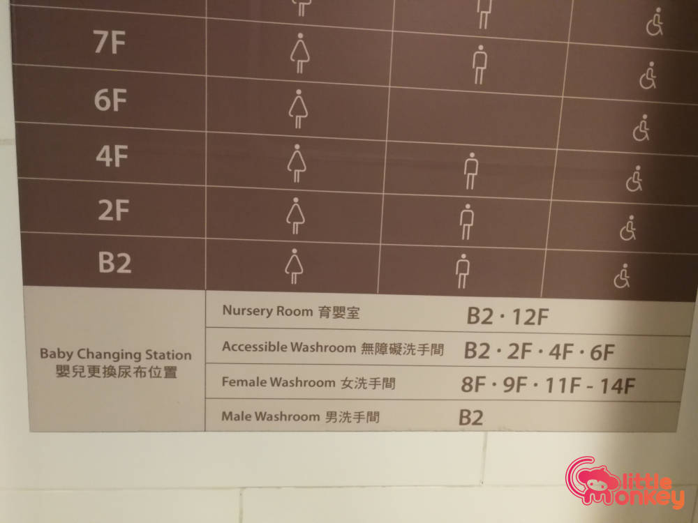 Baby changing station store directory and map in Hysan Place