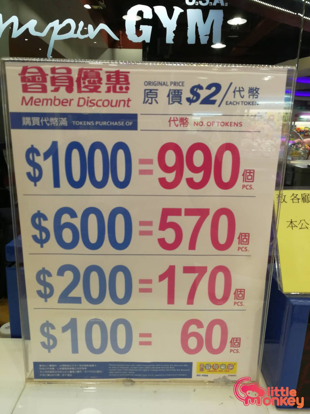 Cityplaza's token discount of each member in Jumpin Gym USA.