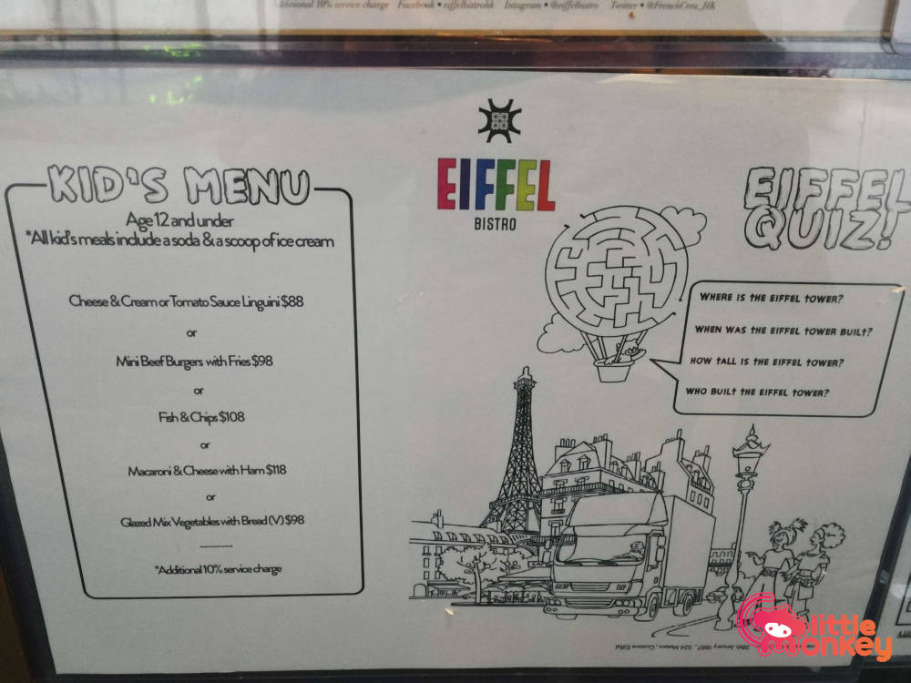 Eiffel Bistro's French menu for kids