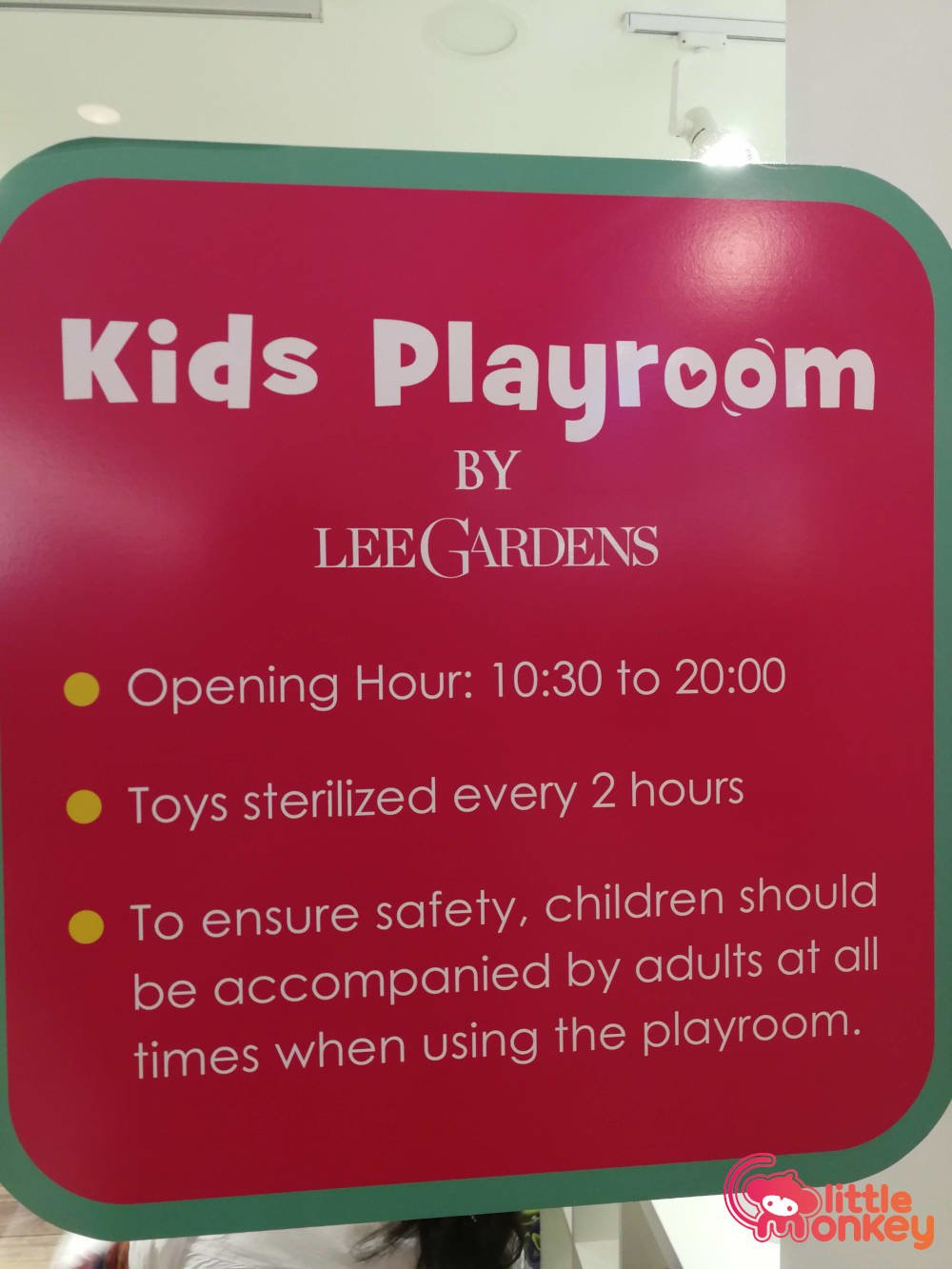 Kids Playroom's guidelines in Lee Garden Two